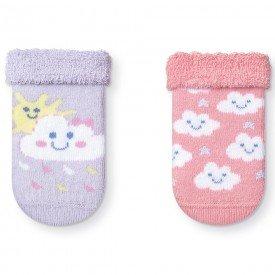 kit 2 pares meias soquete soft recem nascido menina t1084 14 10060