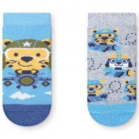 kit 2 pares meias soquete antiderrapante menino aviador azul e mescla t2040 24 10082