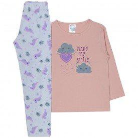 pijama infantil menina nuvem salmaobranco 358 10154