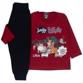 conjunto infantil masculino camisa meia malha e calca moletom jungle friends vermelho preto 1355 9978