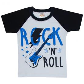 camiseta infantil menino rock n roll branco preto 1102 10222