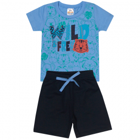 conjunto infantil menino camiseta e bermuda animais azul preto 1100 10215