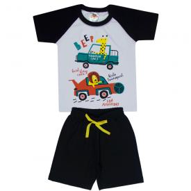 conjunto infantil menino camiseta e bermuda animais carros branco preto 2102 10235