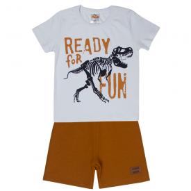 conjunto infantil menino camiseta e bermuda dinossauro branco caramelo 2101 10231