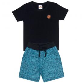 conjunto infantil menino camiseta e bermuda preto turquesa 2100 10230