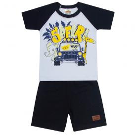 conjunto infantil menino camiseta e bermuda safari branco preto 2103 10237 2