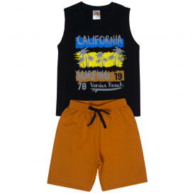 conjunto infantil menino regata e bermuda california preto caramelo 2204 10243