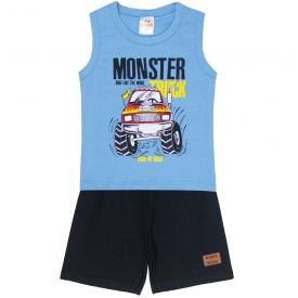 conjunto infantil menino regata e bermuda monster azul preto 2105 10212