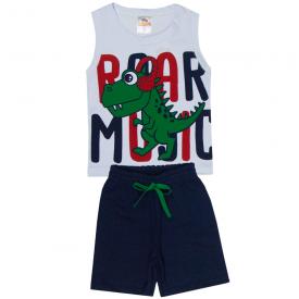 onjunto infantil menino regata e bermuda dinossauro branco marinho 2104 10239