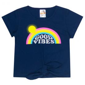 blusa infantil menina amarrar good vibes marinho 1402 10198