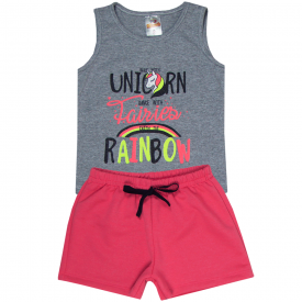 conjunto infantil feminino regata unicorn mescla e short pink neon 2405 10214