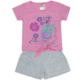 conjunto infantil menina blusa elefante rosa e shorts mescla 2303 10192