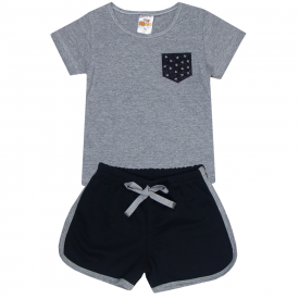 conjunto infantil menina blusa mescla coracao e shorts preto 2300 2400 10186