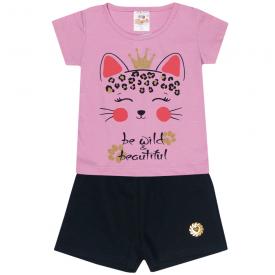 conjunto infantil menina blusa rosa gatinho e shorts preto 2301 10189