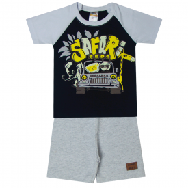 conjunto infantil menino camiseta e bermuda safari preta mescla 2103 10236 2