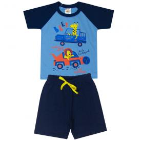 conjunto infantil menino camiseta e bermuda animais carros azul claro marinho 2102 10233