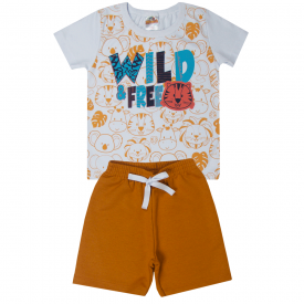 conjunto infantil menino camiseta e bermuda animais branco caramelo 1100 10216