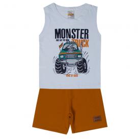 conjunto infantil menino regata e bermuda monster branco caramelo 2105 10241 2