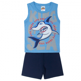 conjunto infantil menino regata e bermuda shark azul claro marinho 1105 10221