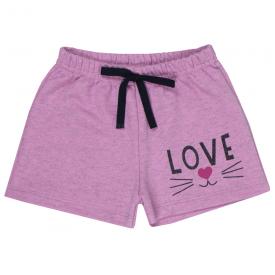 short infantil menina moletinho love rosa 1703 10181