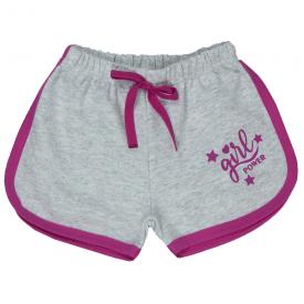 short infantil menina moletinho girl power mescla com pink 1704 10182