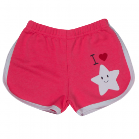 short infantil menina moletinho estrela rosa neon e branco 1705 10184