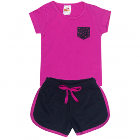conjunto infantil menina blusa pink coracao e shorts preto 2300 2400 10187