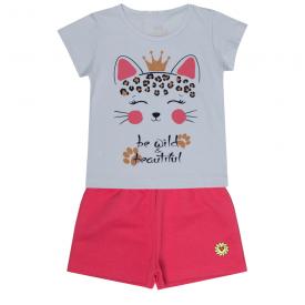 conjunto infantil menina blusa branca gatinho e shorts neon 2301 10188