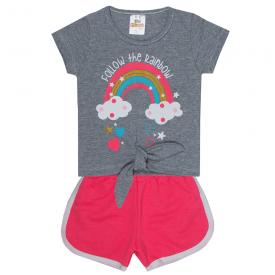 conjunto infantil menina blusa arco iris mescla e shorts neon 2302 10190