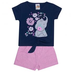 conjunto infantil menina blusa elefante marinho e shorts rosa 2303 10191