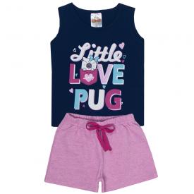 conjunto infantil menina regata pug marinho e shorts rosa 2305 10193
