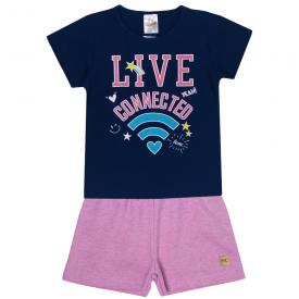 conjunto infantil feminino live connected marinho e rosa 2401 10208