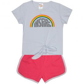 conjunto infantil feminino blusa inspire branca e short rosa neon 2402 10209