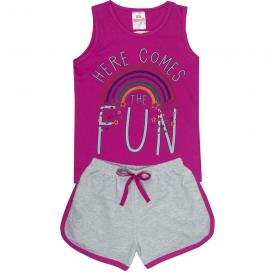 conjunto infantil feminino regata fun pink e short mescla 2404 10211