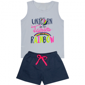 conjunto infantil feminino regata unicorn branca e short marinho 2405 10213