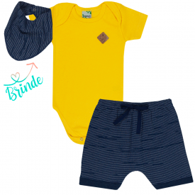 conjunto body amarelo e shorts saruel marinho bandana de brinde 1786 10156