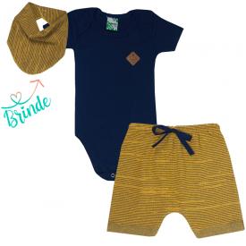 conjunto body marinho e shorts saruel mostarda bandana de brinde 1790 10160