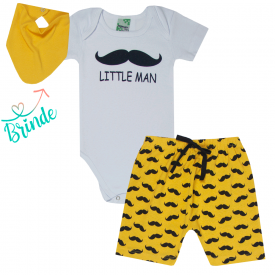 conjunto body branco bigode e shorts saruel amarelo bandana de brinde 1825 10161