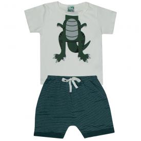 conjunto infantil menino camiseta off white dino e bermuda verde 1809 10173