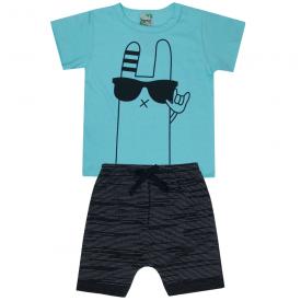 conjunto infantil menino camiseta azul fun e bermuda moletinho preta 1804 10164