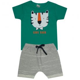 conjunto infantil menino camiseta verde tigre e bermuda branca 1815 10171