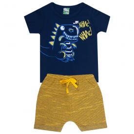 conjunto infantil menino camiseta azul dinossauro e bermuda amarela 1802 10167
