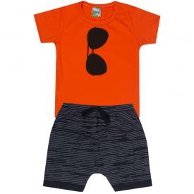 conjunto infantil menino camiseta laranja oculos e bermuda preta 1812 10166