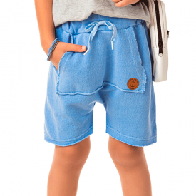 bermuda infantil masculina saruel moletinho estonado azul 4186 10342