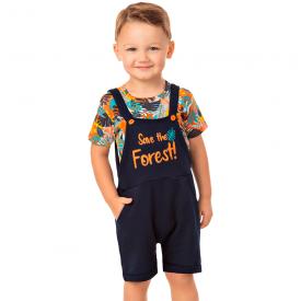 conjunto infantil menino jardineira e camiseta floresta marinho 20289 10332