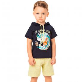 conjunto infantil masculino camiseta capuz tubarao e bermuda marinho amarelo 20286 10331