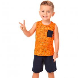 conjunto infantil masculino regata dinossauro laranja marinho 20284 10329