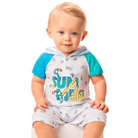 macaquinho bebe menino summer com capuz branco 8338 10325