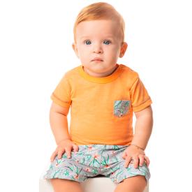 conjunto bebe menino camiseta e bermuda tactel floral laranja 80106 10316