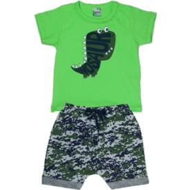 conjunto camiseta verdementa dinosaur saruel camuflada 1811 10172